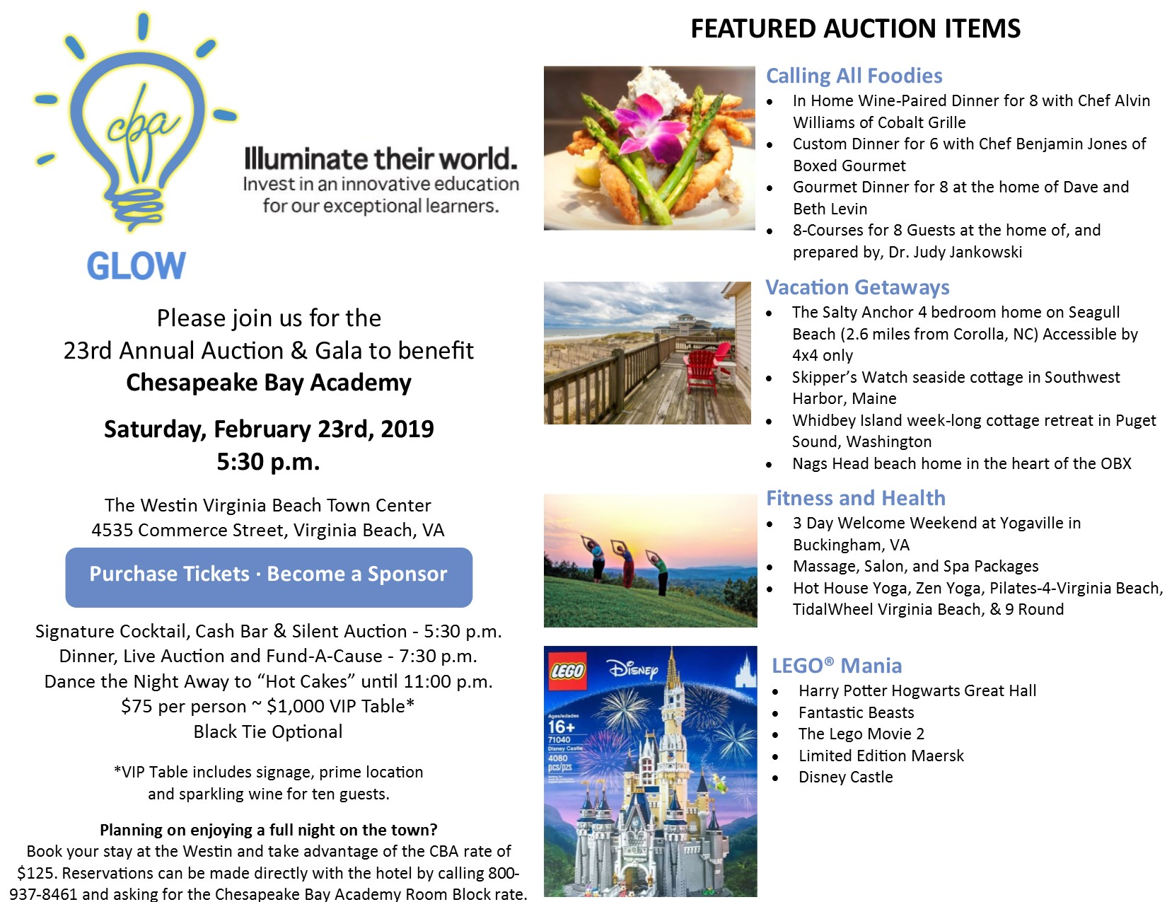 Featured Items at Chesapeake Bay Academy Annual Auction and Gala